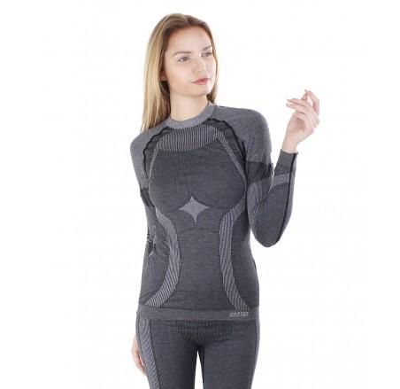 Damska koszulka termoaktywna bezszwowa Merino, wełniana