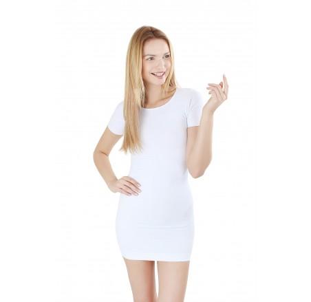 Sukienka bezszwowa, korygująca krótki rękaw, długość do 1/2 uda
