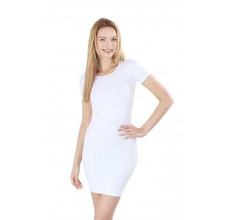 Bezszwowa sukienka korygująca, krótki rękaw, długość nad kolano