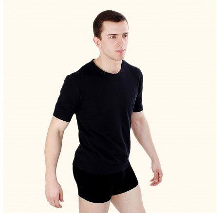 Seamless cotton t-shirt with a round neckline