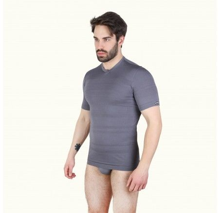 Seamless T-shirt with short sleeves, V-neck